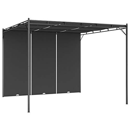 Tidyard Gartenpavillon Terrassendach Sonnenschutz Terrassenüberpavillon Outdoor Shelter mit Seitenvorhang Stoffschiebedach und Seitenvorhänge 3×3×2,25 m Creme/Anthrazit
