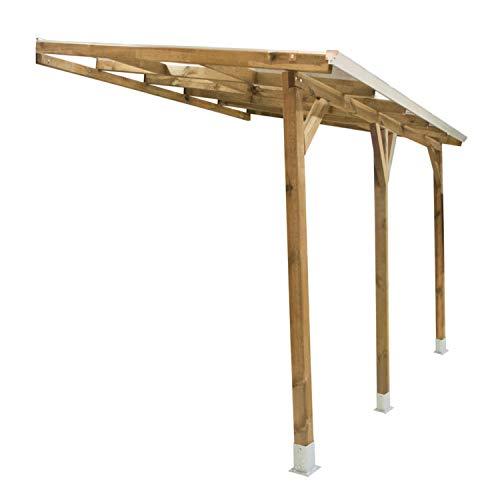 Palram Terrassendach Holz, Terrassenüberdachung Juniper, Markise, Gartenlaube 300x400 cm Natur