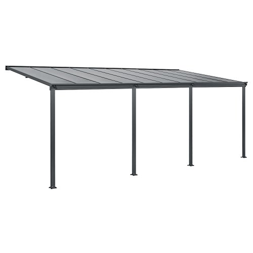 Juskys Aluminium Terrassendach Borneo 6×3 m dunkelgrau | Terrassenüberdachung mit Doppelsteg-Platten | Sonnenschutz Vordach