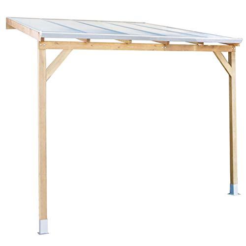 Palram Terrassendach Holz, Terrassenüberdachung Juniper, Markise, Gartenlaube 300x300 cm Natur