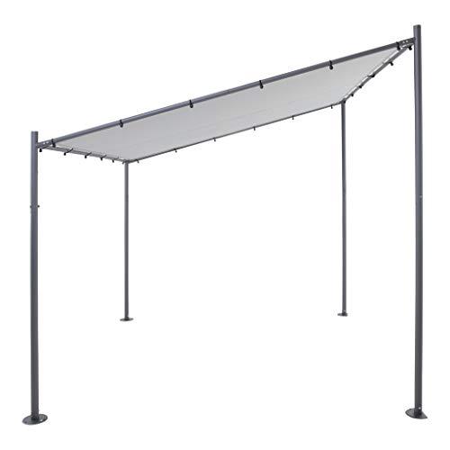 SORARA Milano Wandpavillon | Grau | 285 x 300 cm | Sonnensegel | Anstellpavillon