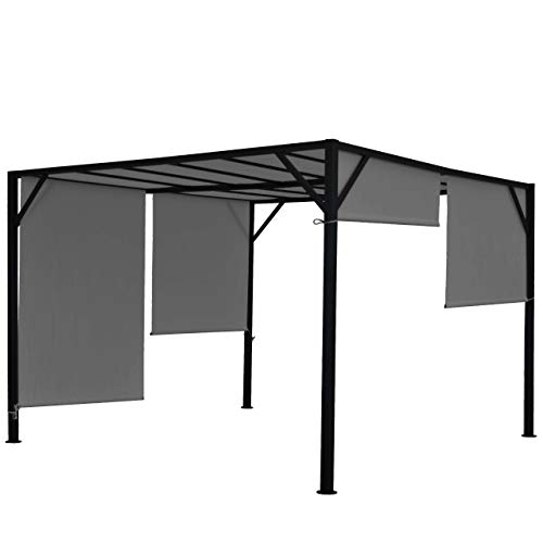 Mendler Pergola Baia, Garten Pavillon Terrassenüberdachung, stabiles 6cm-Stahl-Gestell + Schiebedach grau ~ 4x4m