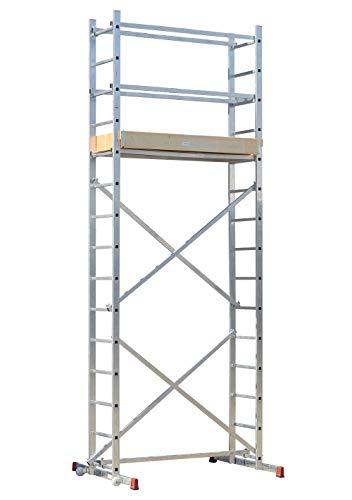 STRUKTURO fahrbares Arbeitsgerüst - Arbeitshöhe 5,00 m - Montagegerüst mit Treppenfunktion - schnell aufbaubar