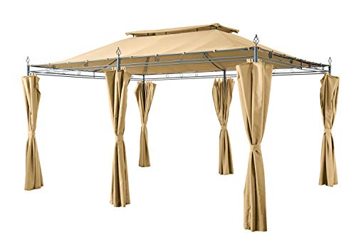 GRASEKAMP Qualität seit 1972 Garten-Pavillon Inca 3x4m Beige mit Seitenteil Sets geschlossen Party-Zelt Terrassen-Dach