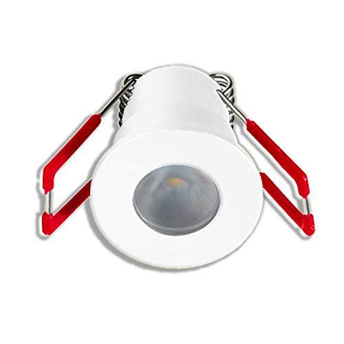 LEDUX 1W LED Mini Einbaustrahler IP65 Wassergeschützt 3000K Warmweiß Dimmbar Mini-Spots für Innen- und Außen, Terrassendach, Bad, Dusche(Weiss, Einzeln, mit Netzteil)