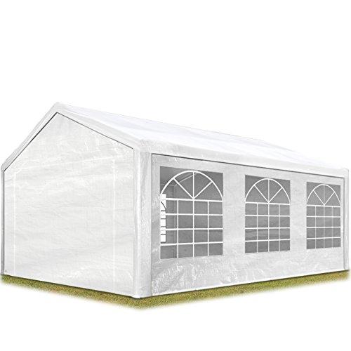 TOOLPORT Partyzelt Pavillon 4x6 m in weiß 180 g/m² PE Plane Wasserdicht UV Schutz Festzelt Gartenzelt