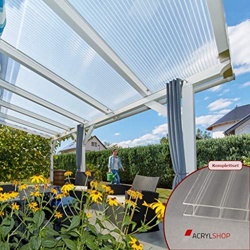 ACRYLSHOP24 Terrassendach Terrassenüberdachung Carport Komplettset Acrylglas 16/32 Farblos Stegplatten Tiefe:5000mm Breite:2080mm - Mehrere Maße verfügbar