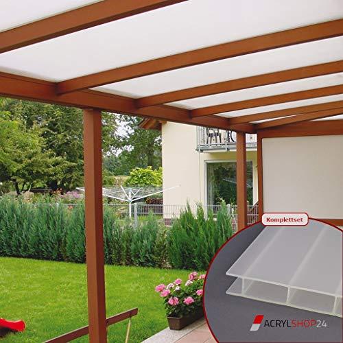 ACRYLSHOP24 Terrassendach Terrassenüberdachung Carport Komplettset Acrylglas 16/32 Opal-Weiß Sunstop Stegplatten Tiefe:3000mm Breite:2080mm