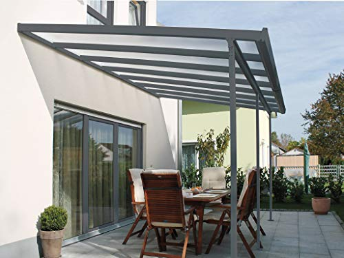 ACRYLSHOP24 Terrassendach Terrassenüberdachung Set mit Alu-Unterkonstruktion Anthrazit Typ D 3mx4m