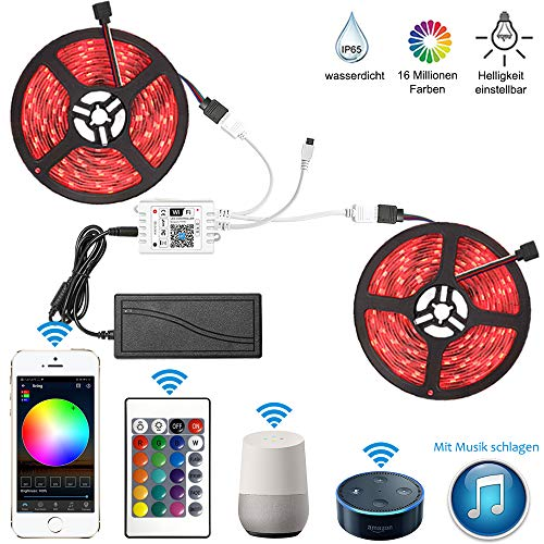 10M WiFi RGB LED Streifen Kit,LED Strip 300LED 5050SMD Lichtleiste IP65 Wasserdicht Bände Arbeitet mit Alexa, Google Home Smartphone, 12V Bänder Lichterkette mit Netzteil und Controller