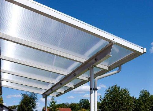 Überdachung Terrasse Bausatz 5x3m Stegplatten und Profile für Unterkonstruktion (opal-weiß)