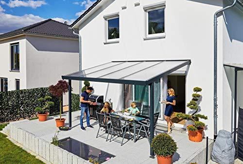 Gutta Terrassendach Premium | Tiefe 3060 mm | Anthrazit | Verschiedene Größen & Eindeckungen (Acryl Stegplatten 16 mm klar, 4102 x 3060 mm)