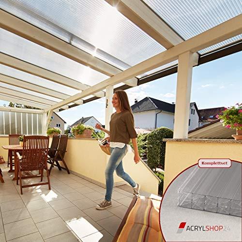 ACRYLSHOP24 Terrassendach Terrassenüberdachung Carport Komplettset Polycarbonat 16mm X-Struktur Stegplatten farblos 16mm Stegplatten Tiefe:4000mm Breite:4100mm - Mehrere Maße verfügbar