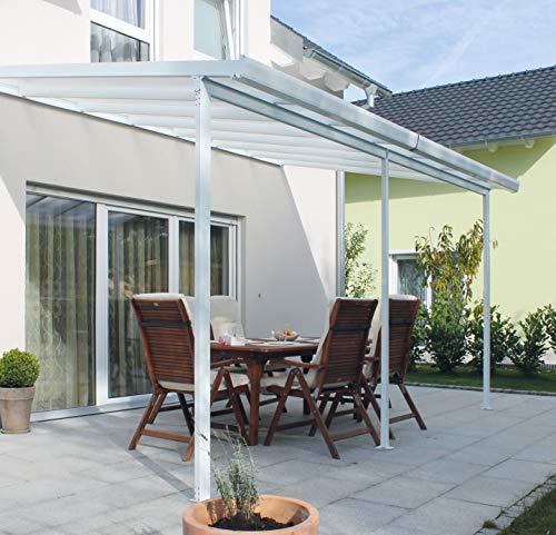 Gutta Terrassendachsystem Terrassenüberdachung Terrasse Überdachung Alu weiß 3x3 4,2x3 5,4x3 m (3 x 3 m (9m²))