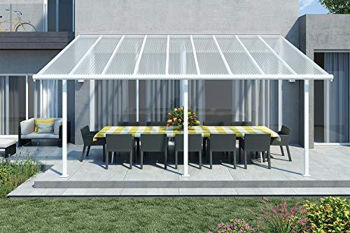 Palram Hochwertige Aluminium Terrassenüberdachung, Terrassendach Sierra 299x555 cm (TxB) - weiß inkl. Befestigung und Regenrinne