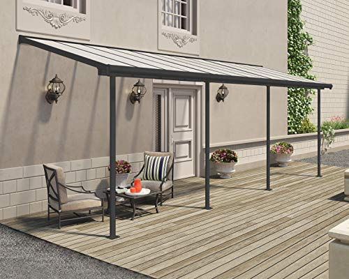 Palram Terrassendach, Balkondach Sierra 230x670 cm grau inkl. Regenrinnen und Befestigungskit