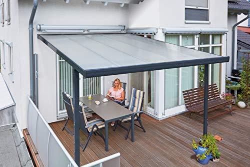 Gutta Terrassenüberdachung Aluminium, anthrazit, Typ D, 3060 mm breit, 4060 mm tief