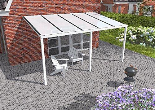 Easy Edition Hochwertige Aluminium Terrassenüberdachung, Terrassendach 503 x 300 cm (BxT) - weiß RAL 9016 inkl. Polycarbonat Opal 16 mm