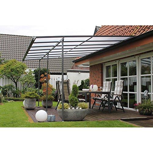 LECO Anbau-Terrassen-Überdachung, grau/braun, 400x300 cm